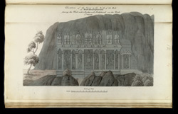 'Elevation of the cave to the North of the rock at Mahabalipooram. Facing the west with 3 porches well sculptured on the rock 4th July 1816.'